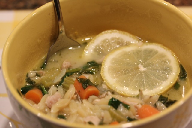 Kel's lemony chicken soup with spinach and orzo