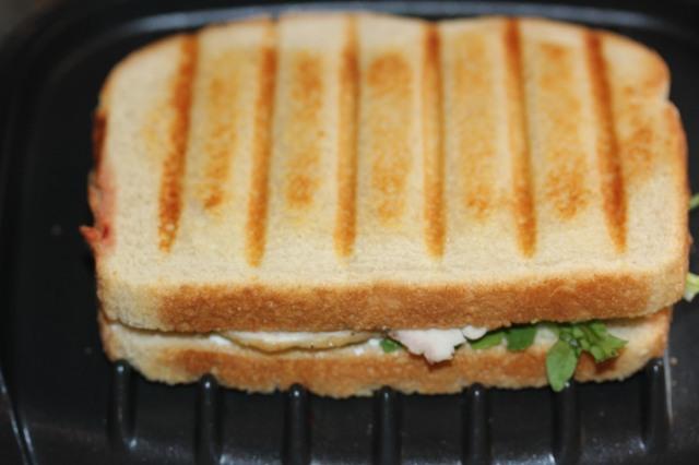 Kel's sandwich in the George Forman machine