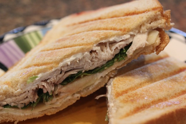 Kel's turkey arugula apple goat cheese pannini