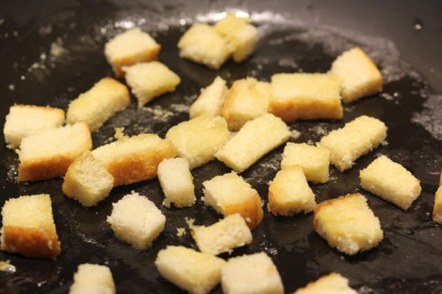Sourdough croutons in the making