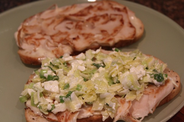 Top with marinated slaw