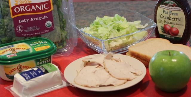 Turkey, arugula, goat cheese, etc. ingredients