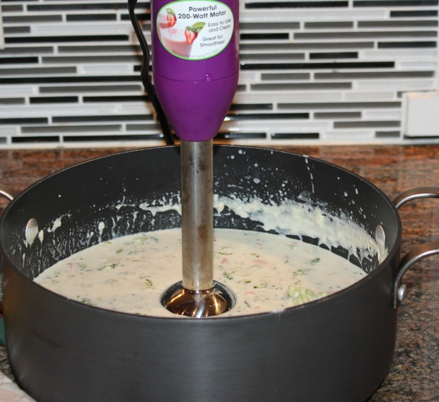 Blend soup with immersion blender