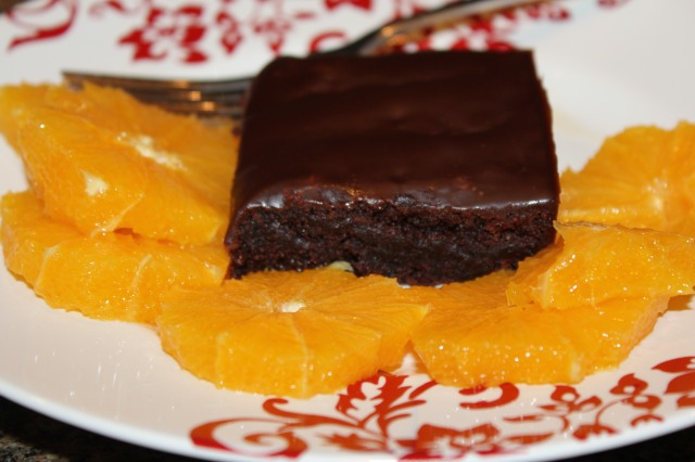 Brownie with adult macerated oranges