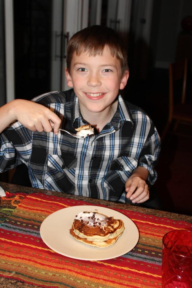 Gabe loves pancakes for dessert!