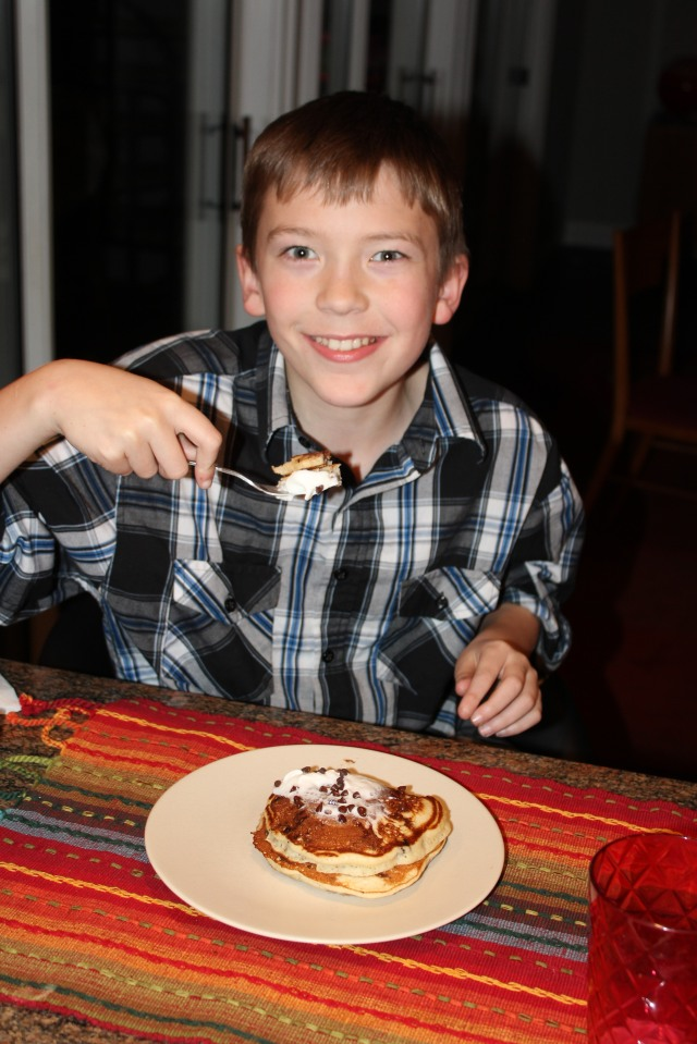Gabe loves pancakes for dessert!