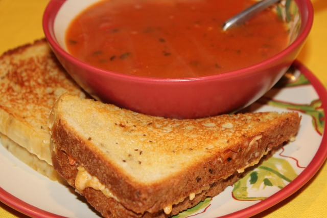 Kel's dill bread pimento cheese with tomato soup