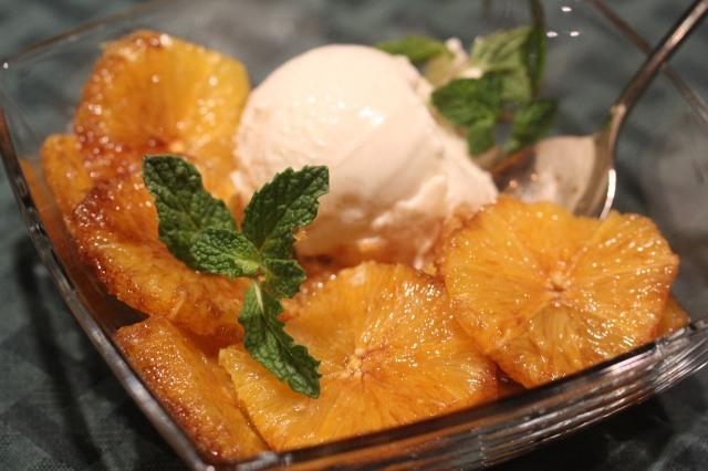 Kel's Macerated oranges with vanilla ice cream