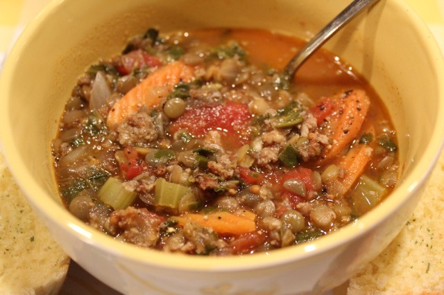 Kel's Sausage and Lentil soup