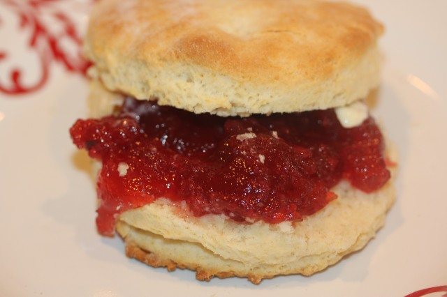 Krusteaz buttermilk biscuit with strawberry preserves