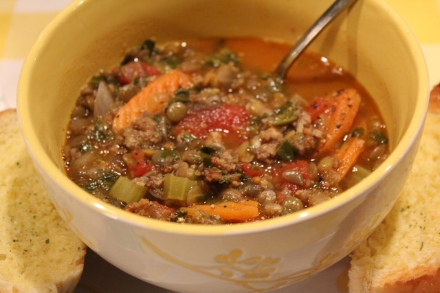 Serve Kel's sausage and lentil soup with garlic bread