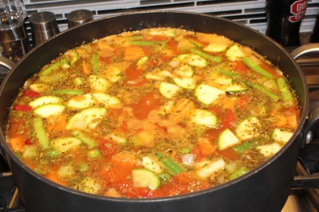 Add broth, veggies, etc. to Kel's minestrone