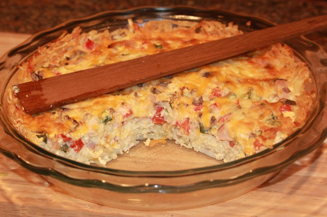 Kel's hash brown crusted quiche