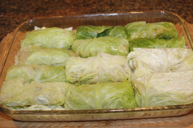 Place cabbage rolls in casserole dish