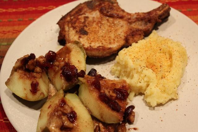 Serve baked apples with pork chops