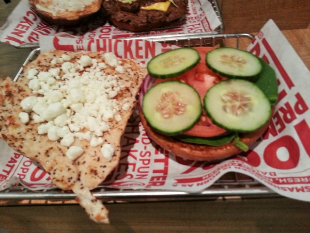 Smashburger chicken sandwich with goat cheese
