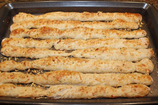 Kel's breadsticks out of the oven