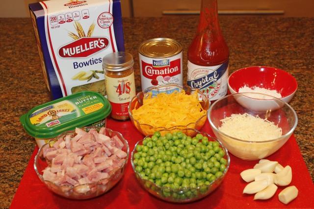 Kel's Ham and pasta ingredients