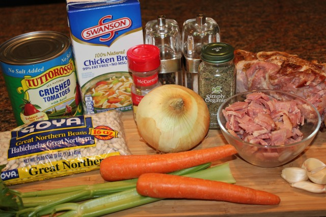 Kel's Hearty Ham bean tomato soup ingredients