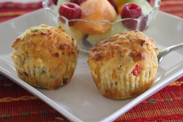 Kel's Krusteaz cornbread muffins and fruit salad