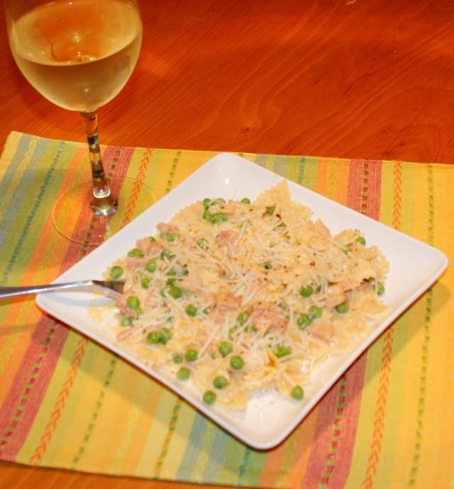 Serve Kel's pasta with white wine