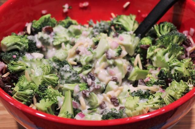 Add dressing to broccoli salad