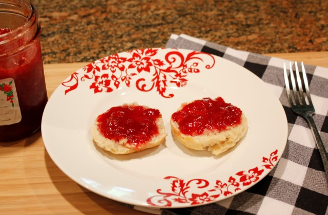 Oh yeah, biscuit with Kel's strawberry preserves