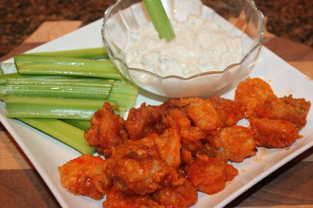 Kel's buffalo shrimp and bleu cheese dressing