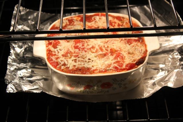 Place casserole dish on foil
