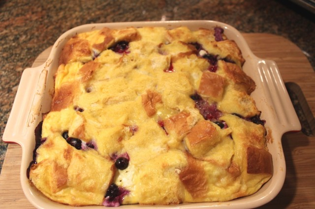 Blueberry French toast casserole out of the oven