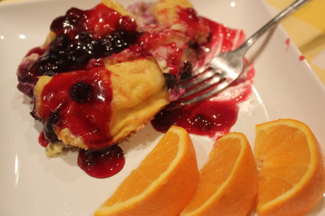 Blueberry french toast casserole with blueberry syrup