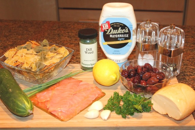 Kel's smoked salmon pasta salad ingredients