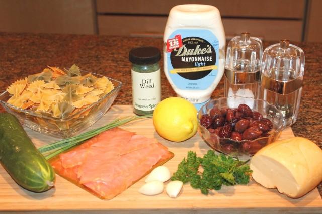 Kel's smoked salmon pasta salad ingredients