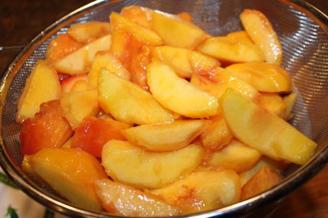Drain peaches