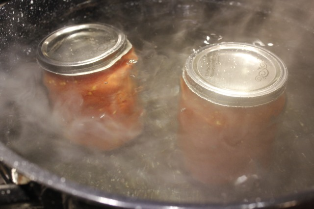 Process canned romas in water bath
