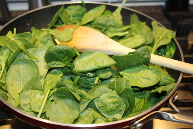 Add spinach to mushroom mixture