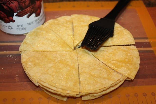 Brush tortillas with oil