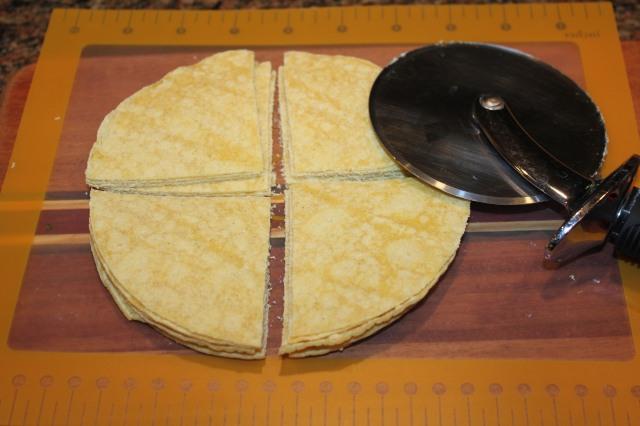 Cut tortillas with pizza cutter