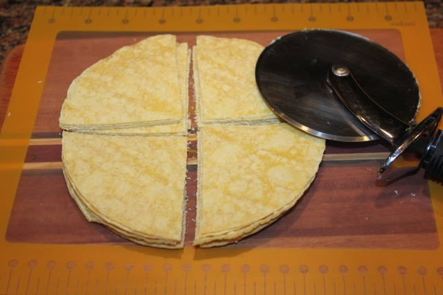 Cut tortillas with pizza cutter