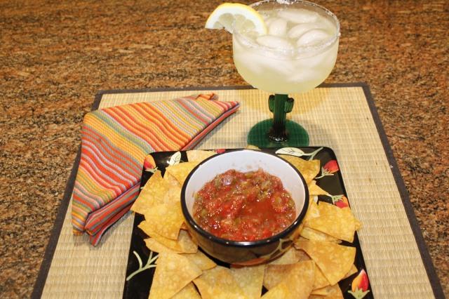 Kel's salsa, chips aand margarita