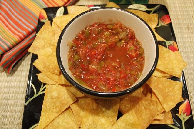 Kel's spicy salsa with homemade chips
