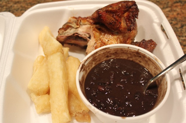 Mami Nora's black beans and yucca fries