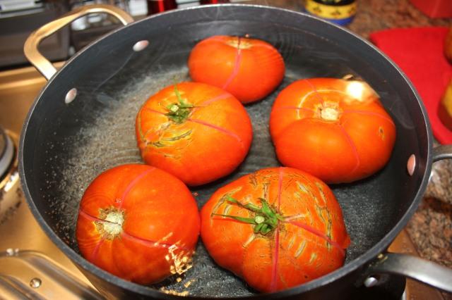 Parboil tomatoes