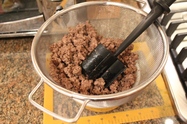 Drain and crumble ground beef