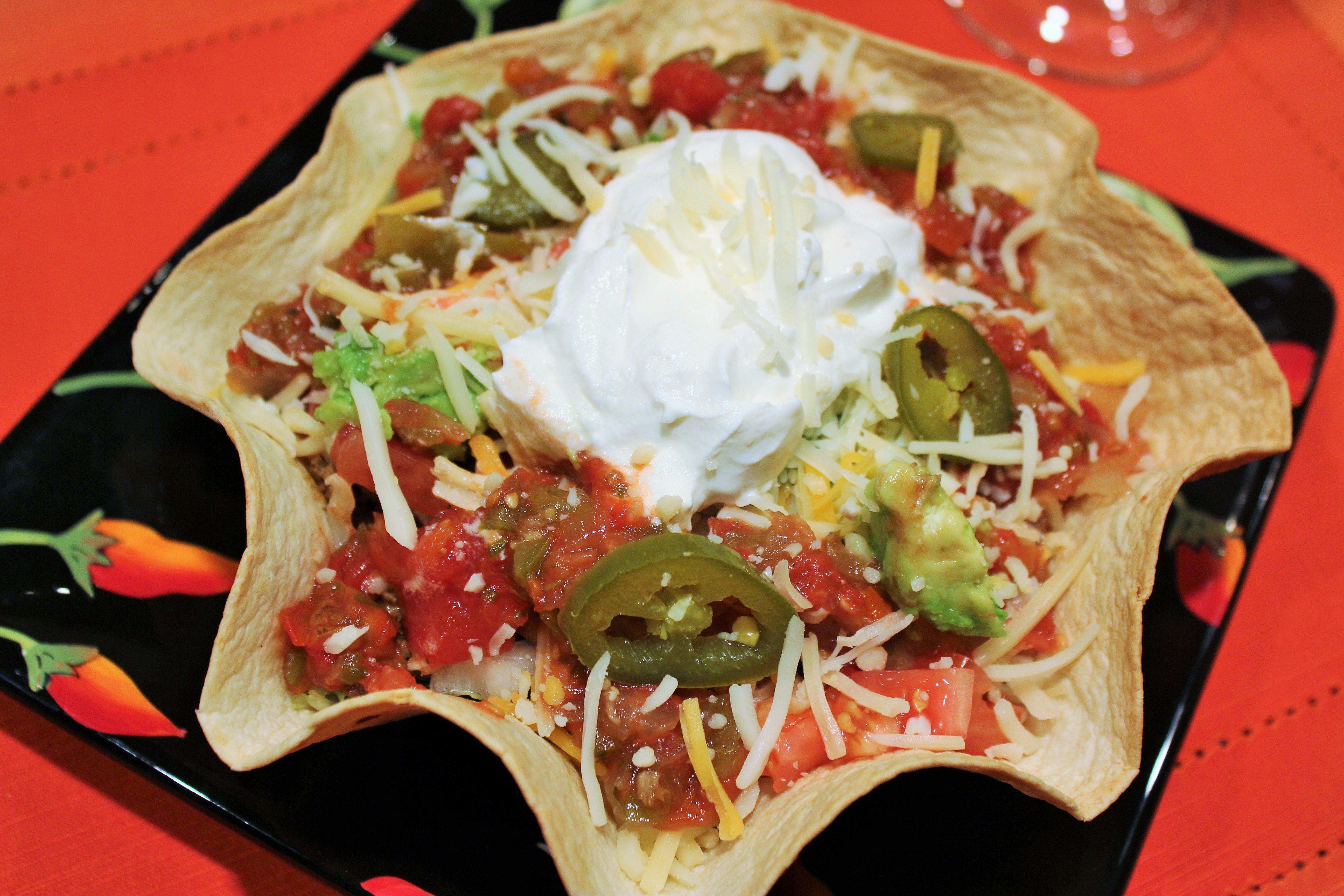Kel S Tasty Taco Salad In Edible Tortilla Bowls Kel S