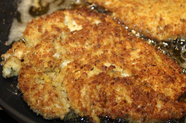 Fry chicken until golden brown