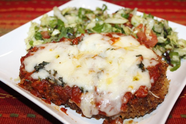 Kel's chicken parm with salad