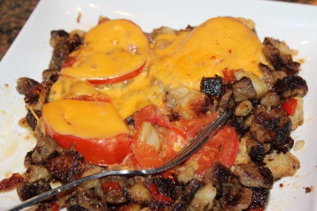 Kel's roast beef hash with tomatoes and cheese