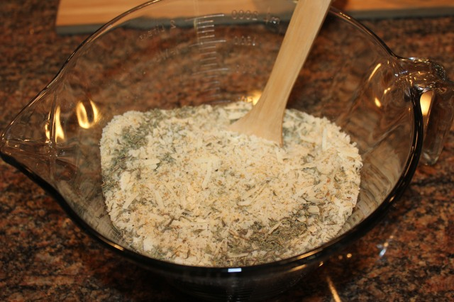 Mix bread crumbs, etc.
