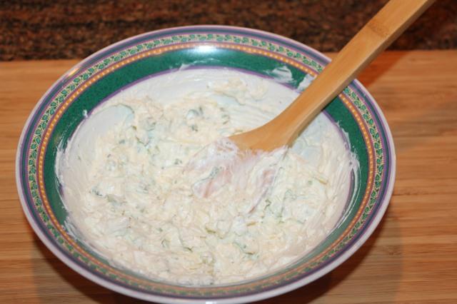 Mix Boursin cheese, sour cream, jalapenos, etc.
